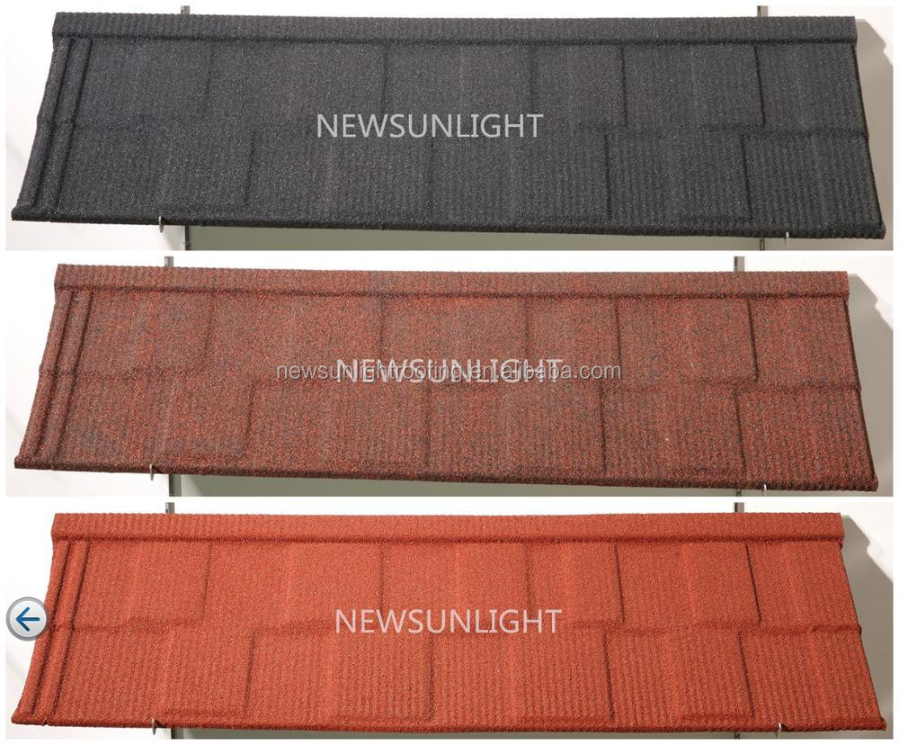 Color stone chip coated steel roof tile / Fire-resistance metal roofing price shingles wholesale