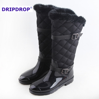 2016 women long now boots for winter rain boots with fur lining long boots for women