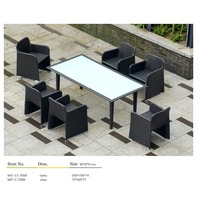 White outdoor rattan table furniture set