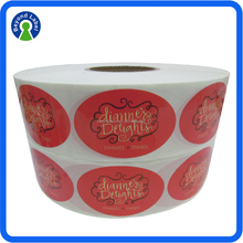 Full Color Printed Waterproof Glossy Finishing Chocolate Sticker Cheap Adhesive Packaging Paper Chocolate Label Roll