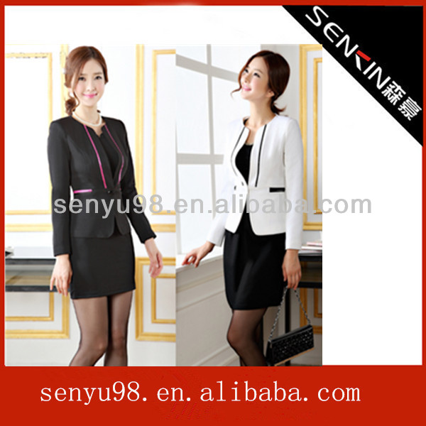 Fashion clothing elgant women's set slim work wear skirt suits,lady office uniform made in china