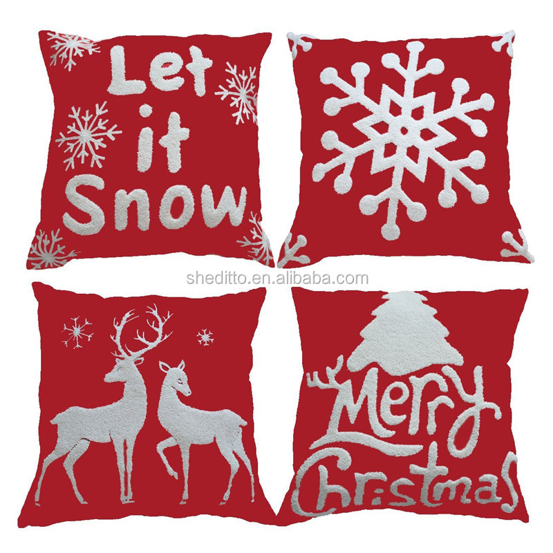 Christmas Throw Pillow Red Embroidery Pillow 18x18 for Home Car Decorative