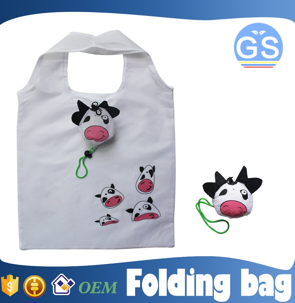 OEM factory direct suppy cow foldable shopping bag 190T polyester cheap