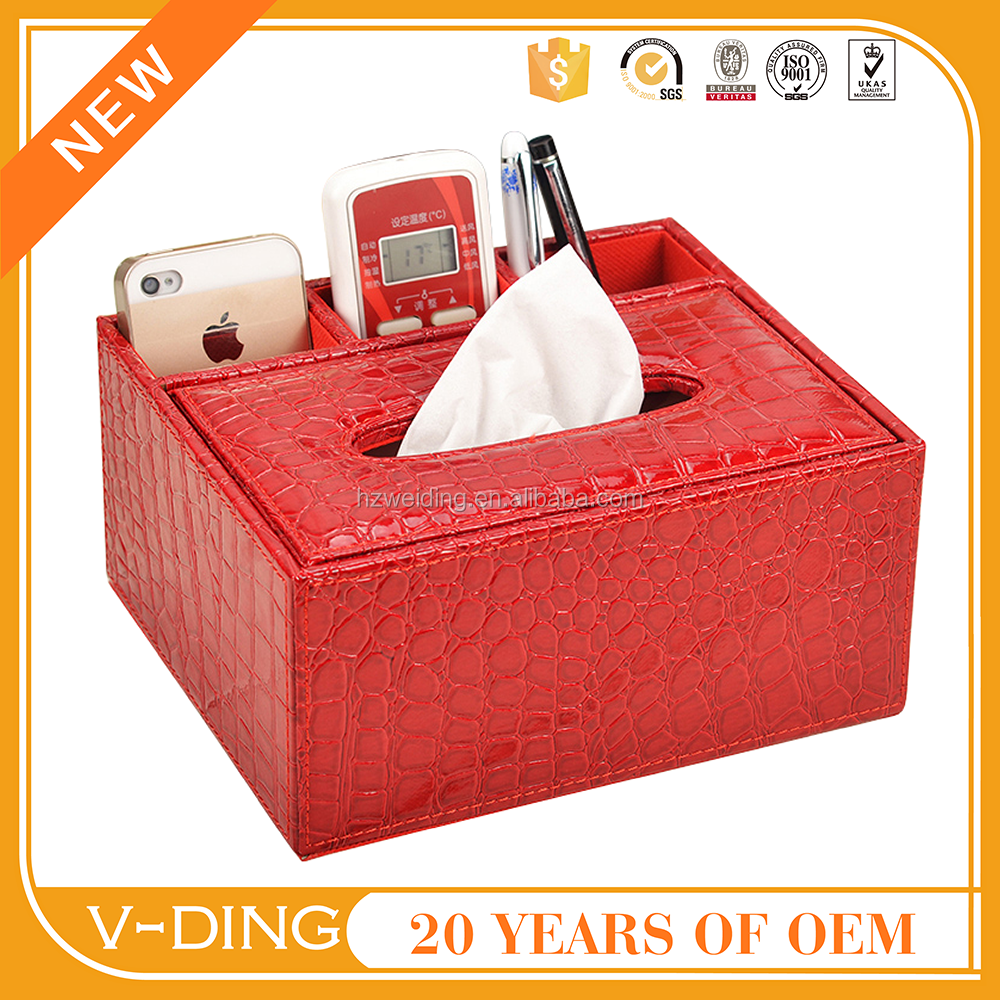 vding from China professional manufacturer high quality crocodile pattern leather tissue paper box design