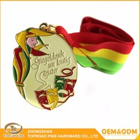 Wholesale personal custom metal sport awards oval shape colored enamel medal with ribbon