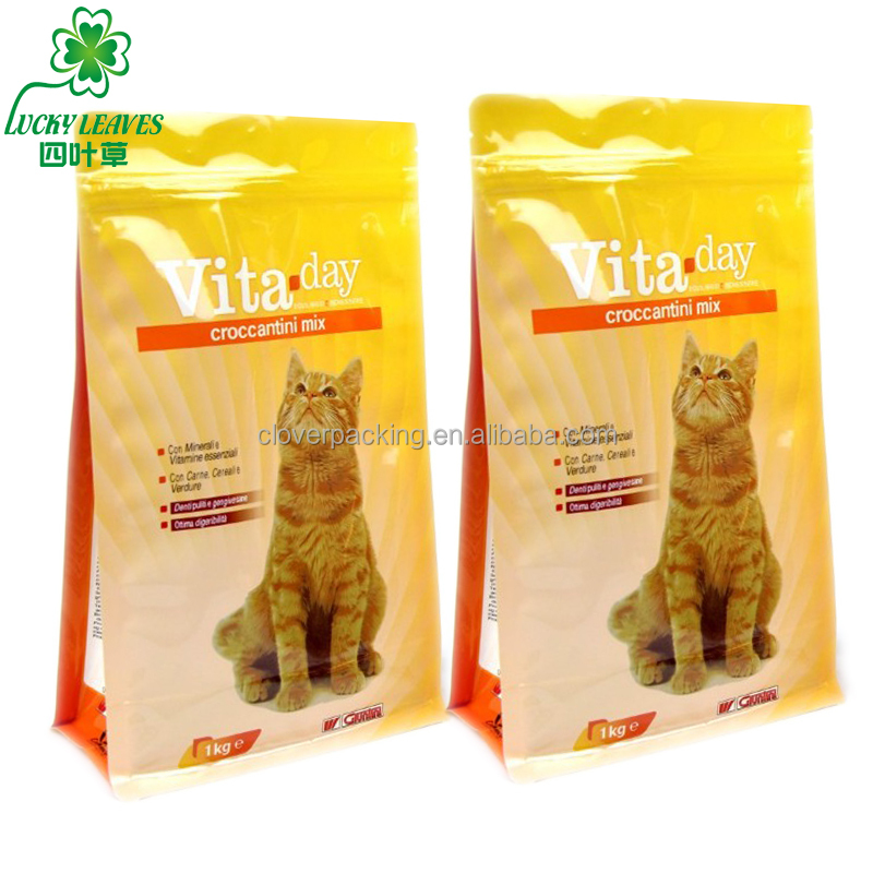 Stand up packing bags for cat food printed laminated resealable whiskas cat food zipper pouches