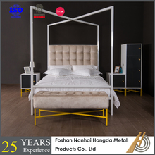 White Steel four poster canopy bed for bedroom