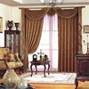 Double swag shower window curtain with water-wave valance