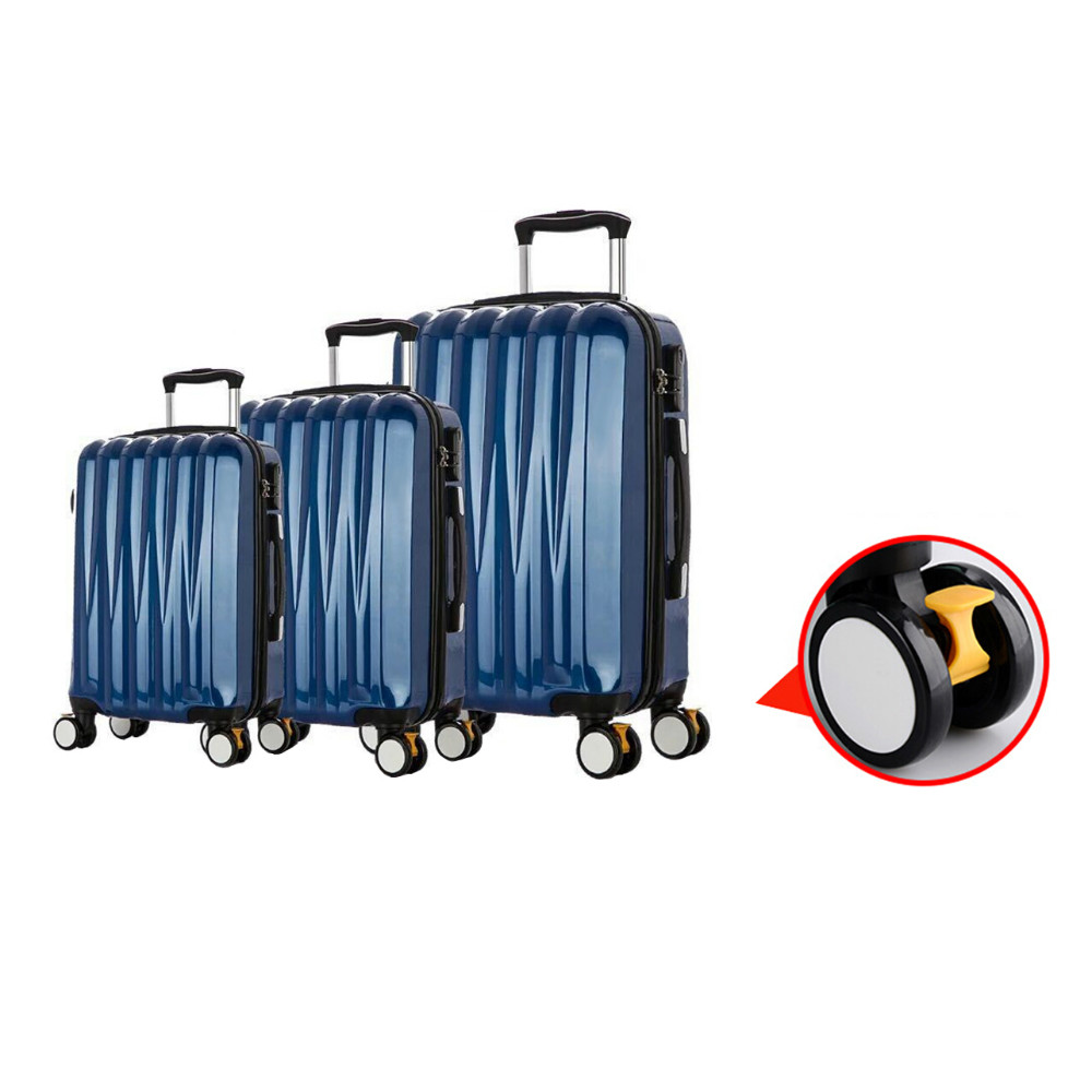 ABS PC hard shell spinner trolley suitcase, 3pcs 3D polycarbonate roller cabin suit case luggage set with skid brake lock wheel