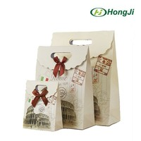 Italy Style Cutom Print sticky Closure Hard Paper Bag With Lid