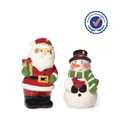 Santa and Snowman bride and groom ceramic Salt and Pepper Shaker Set wedding favors