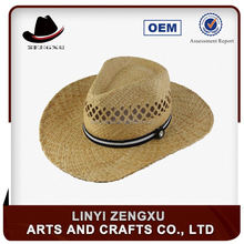 Plain straw purple cowboy hat