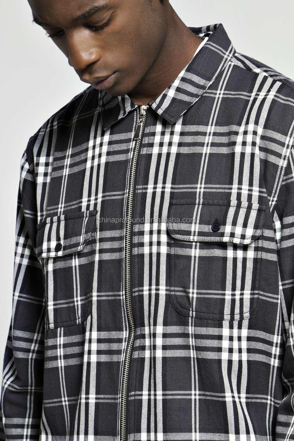 OEM custom long sleeve zipper up black check shirt mens red flannel shirt