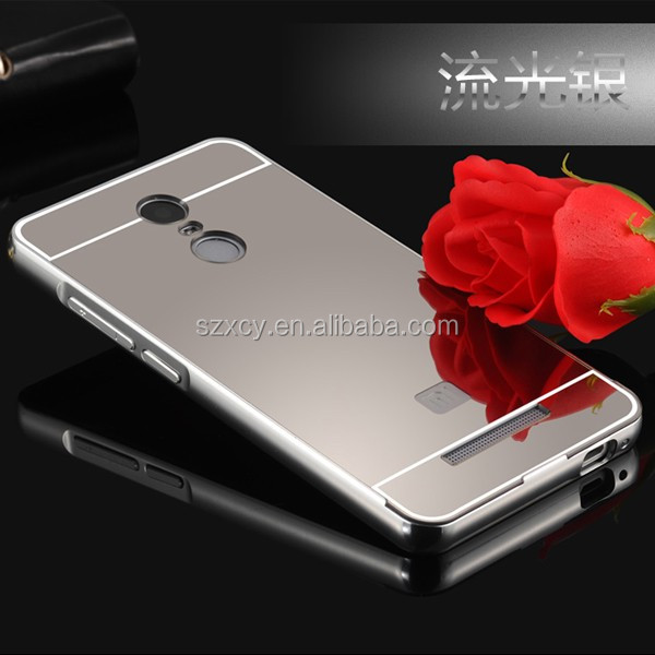 Electroplating mirror PC plastic back cover Aluminum metal bumper frame shockproof case for redmi note 3