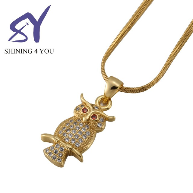 Hip Hop Gold Color beautiful Owl Fashion Style Copper Micro Inlay Chain Pendant Necklace for Men and Women