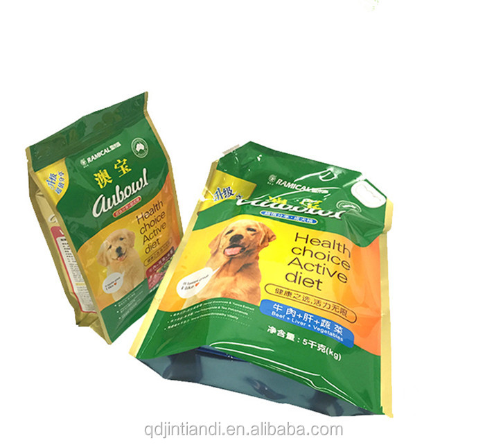 OEM High Quality Flat Bottom Side Gusset Stand Up Pouch/Plastic Dog Pet Food Packaging Bag with Zipper