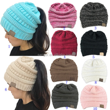 Fashion Solid Color Ponytail Beanie Hats In Stock