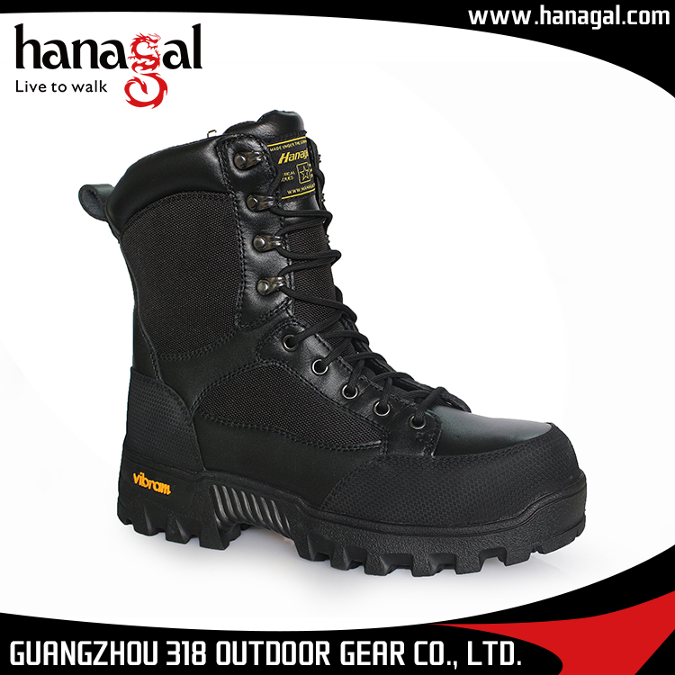 Full grain Leather military combat boots black cheap indian army boots with rubber sole