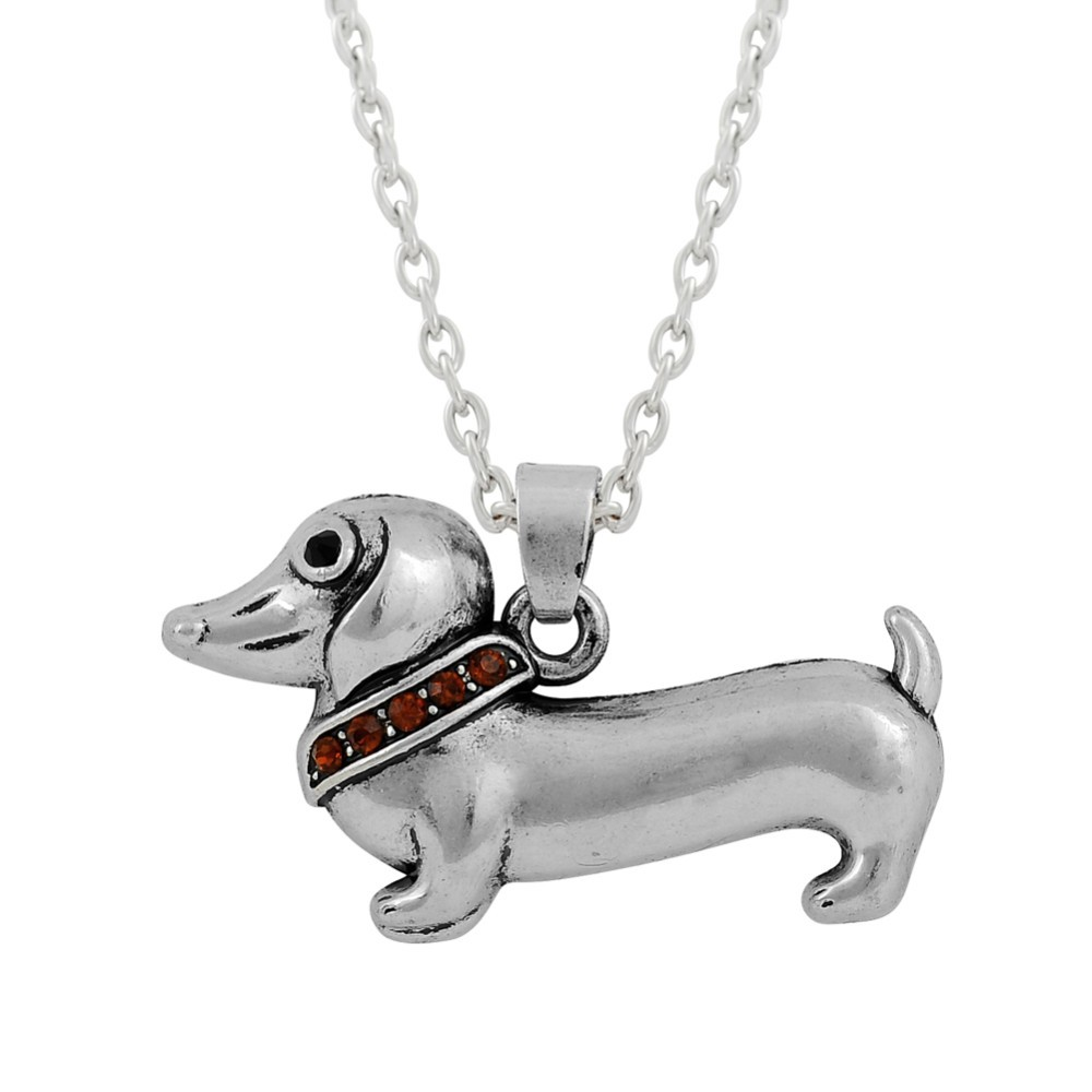 Lovely Design 2D Crystal Dachshund Pendant Necklace ,Dackel Animal Style Necklace
