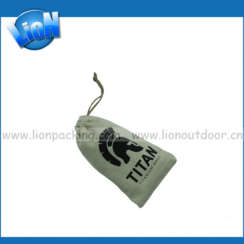 Customized logo white cotton drawstring travle packing gift pouch bags