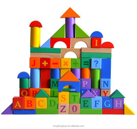 High quality 84pcs Alphabet wooden building blocks wooden learning toy