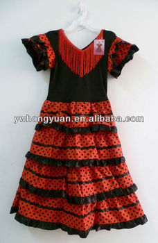 Girls Flamenco dress Children Costume Red with black dots Princess spanish dance dresses for girls women