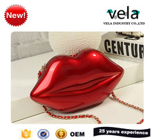 Hot Cake Pu Leather Fabric Red Lip Shape Women Cosmetic Hand Bag
