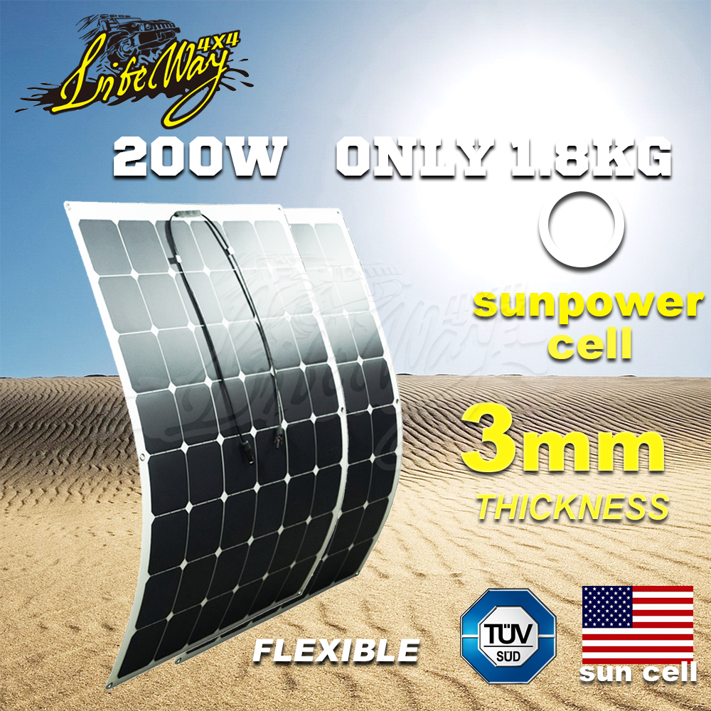 Mono Sunpower Cell Semi Flexible Solar Panel 200W