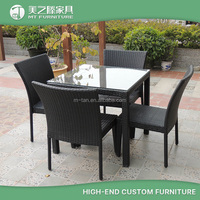 All weather wicker outdoor furniture cheap rattan patio plastic dining chair and table set