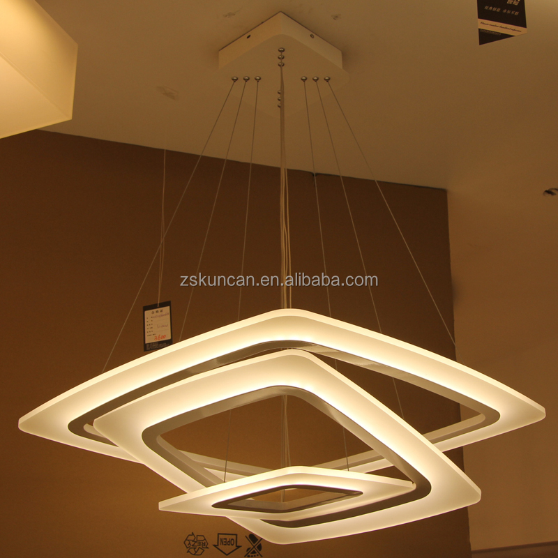 Zhongshan Square Acrylic Led Pendant Light Fixtures