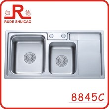 8845C double bowl kitchen sink with drainboard