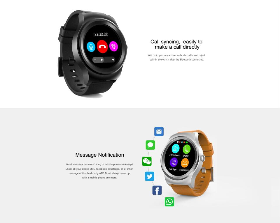2018 Bluetooth Smart Watch Phone with 5 days standby 95% accuracy heart rate BT3.0+BT4.0