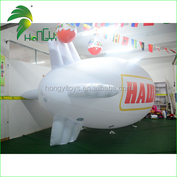 Hot 0.18mm PVC White Airship Inflatable Blimp Balloon , Air Zeppelin Balloon With Factory Price