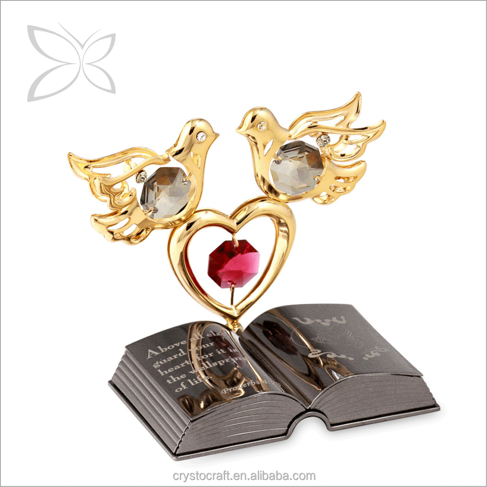 Wholesale Highest Quality Gold Plated Metal Crystal Christian Doves & Heart Bible Story Gifts