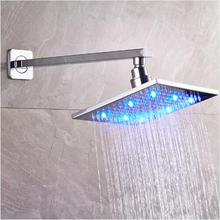 Stainless Steel Wall Mounted LED Rainfall Shower Head ABS Plastic Handheld Arm with Bracket and Shower Hose
