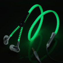 Popular glowing product best selling zipper luminous earphone