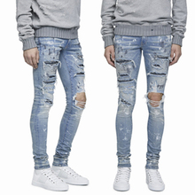 OEM 2018 paint splattered jeans with heavy wash distress rhinestones jeans men jeans trousers 106