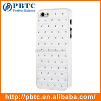 Set Screen Protector Stylus And Case For Iphone 5 , Hard Plastic White Bling Diamond Protective Case