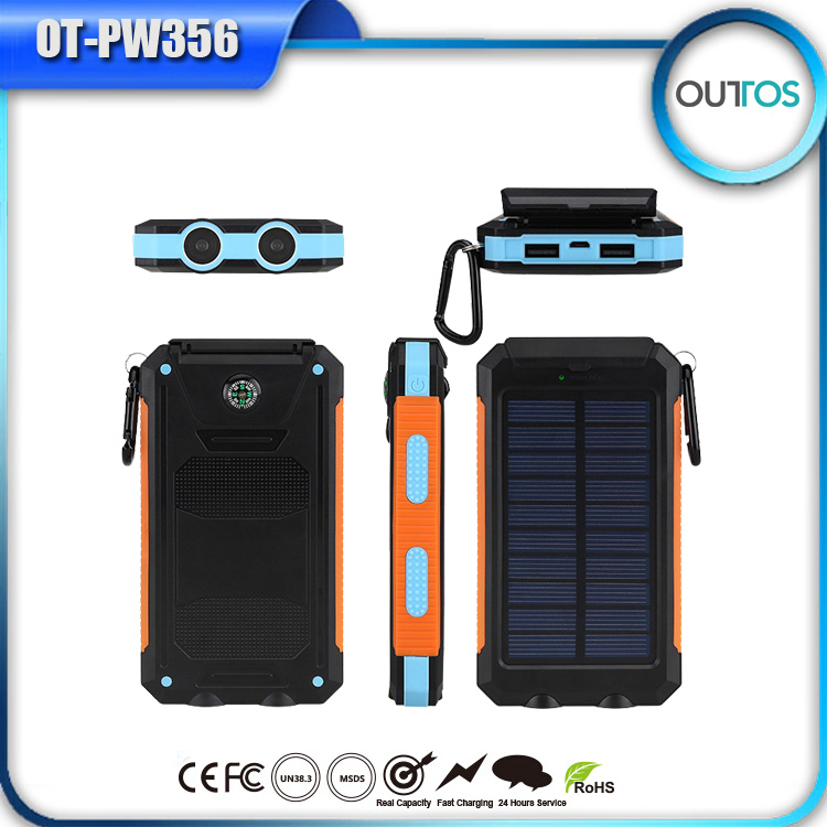 Promotional solar energy mobile phone charger ip67 waterproof power bank 8000mah