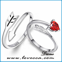 Fashion Design couple Engagement Ring 925 silver diamond ring