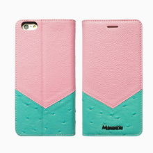 Newest genuine leather mobile phone accessories case two bright color match for Iphone 6 plus