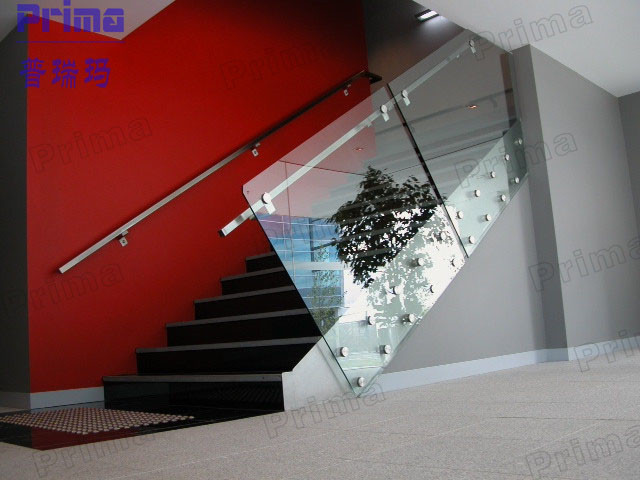 Internal Stairs Glass Railing with Stainless Steel Patch Fittings
