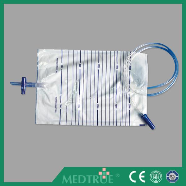 Hot Sale Medical Cross Outlet Valve 2000ml Urine Bag With CE/ISO Certification (MT58043003)