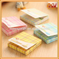 Macaron color post sticky notes with colorful grid paper box