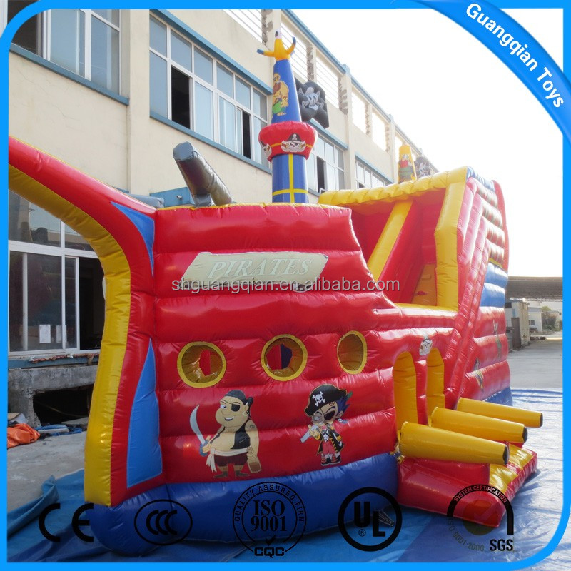 Guangqian Hot Commercial Mini Inflatable Pirate Ship With Slide For Sale