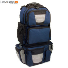 Chinese OEM Blue large demountable tackle fishing backpack with cooler pocket