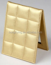Promotionl gift leather mirror case /make up leather mirror case/Christmas gift cheap mirror