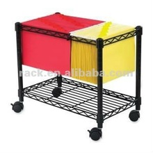 Easy Assemble Metal Wire Rolling File Cart , NSF Approval