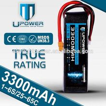 rc lipo battery 22.2V 3300mah 6 cell 55C with true c rating and good quality