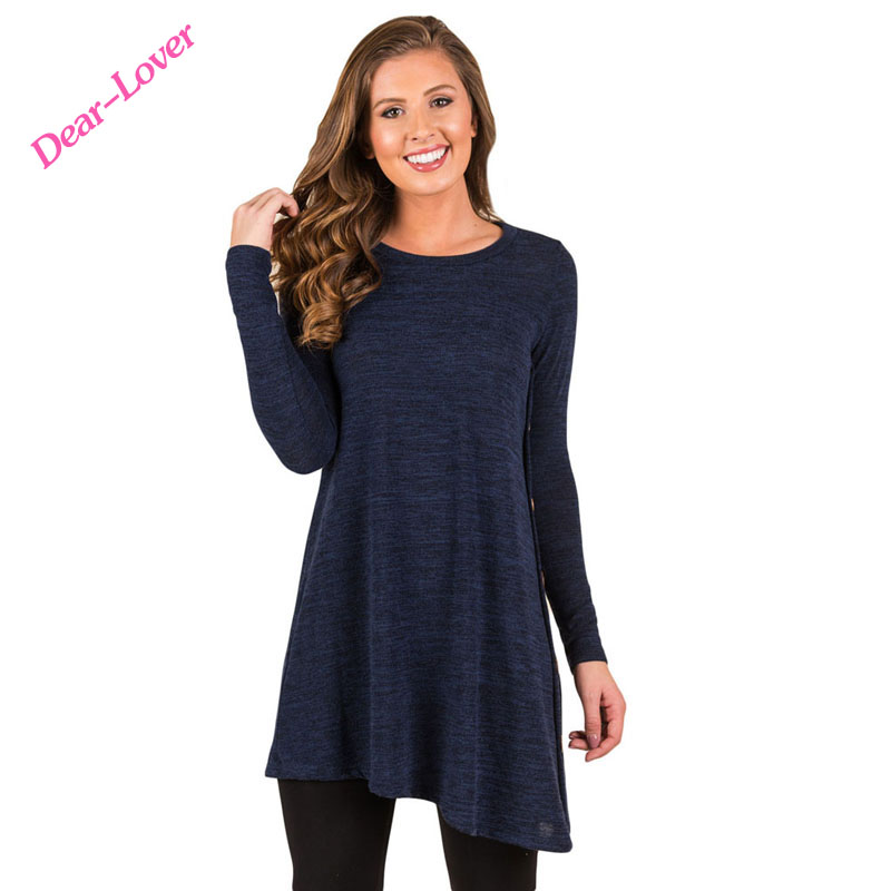 <strong>Navy</strong> Winter Button Side <strong>O</strong>-Neck Long Sleeve Tunic Woman Blouse